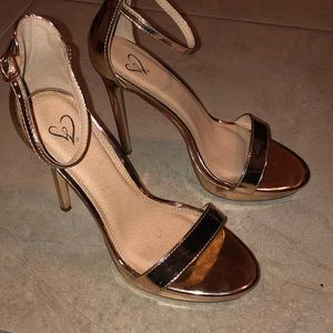 Rose Gold Two Strap Heels w/ Platform